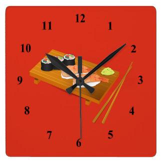 Relógio Quadrado Comida japonesa dos desenhos animados do sushi
