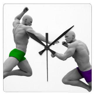 Relógio Quadrado Conceito das artes marciais para a luta e a