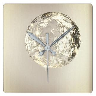 Relógio Quadrado Conceito de cristal do Sepia do ouro de Universum