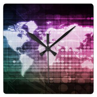 Relógio Quadrado Conexão de rede global e sistema integrado