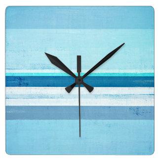 """Relógio Quadrado """"Congelando"""" a arte abstracta azul"""