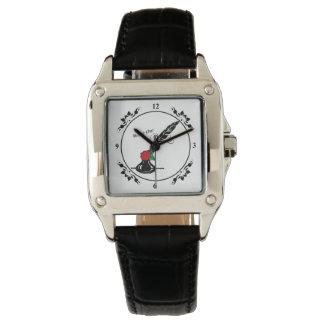 Relógio quadrado cor-de-rosa da cara do Quill e da
