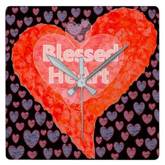 Relógio Quadrado Coração abençoado