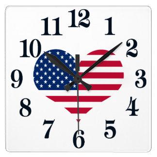 Relógio Quadrado Coração americano dos EUA da bandeira de América
