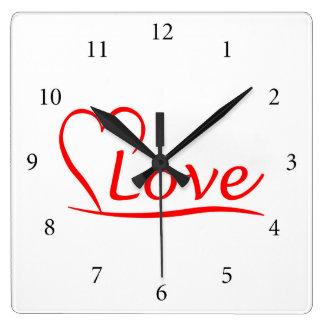 Relógio Quadrado Coração com amor