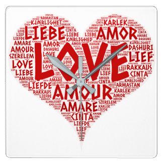 Relógio Quadrado Coração ilustrado com palavra do amor