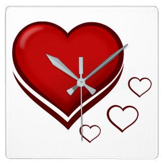 Relógio Quadrado Coração vermelho