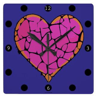Relógio Quadrado Corações no amor