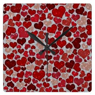 Relógio Quadrado Corações Sparkling,