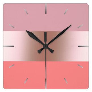 Relógio Quadrado Coral cor-de-rosa do rosa do ouro do pintinho