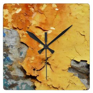 Relógio Quadrado Cores da oxidação 01,02, Rost-Arte