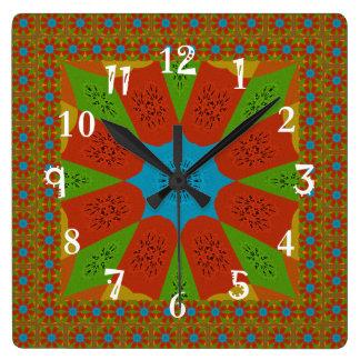 Relógio Quadrado Cores femininos africanas de surpresa bonitas do