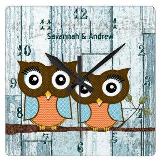 Relógio Quadrado Corujas de madeira personalizadas do pássaro do