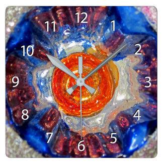 Relógio Quadrado Cosmos de explosão - Van Gogh Sun alaranjado -