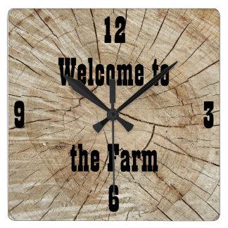 Relógio Quadrado Costume, cabana rústica de madeira, país, fazenda