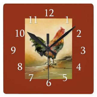 Relógio Quadrado Cozinha do galo do país
