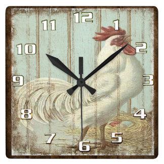 Relógio Quadrado Cozinha rústica do galo do país do vintage