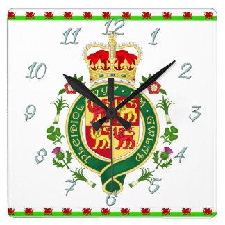 Relógio Quadrado Crachá real de Wales