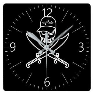 Relógio Quadrado Crânio e espadas