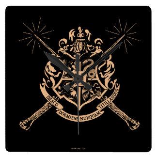 Relógio Quadrado Crista cruzada Hogwarts das varinhas de Harry