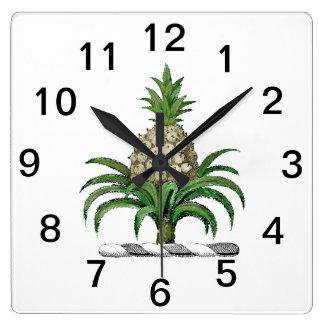 Relógio Quadrado Crista heráldica formal da brasão do abacaxi