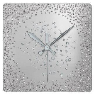Relógio Quadrado Cristais das gemas do diamante da grafite das