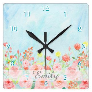 Relógio Quadrado customizável azul do rosa da aguarela dos rosas do