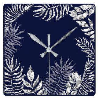Relógio Quadrado Da palma azul do marinho das cinzas de prata