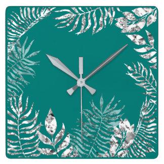 Relógio Quadrado Da palma brilhante da cerceta das cinzas de prata