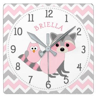 Relógio Quadrado Decoração animal do berçário do bebê da menina do