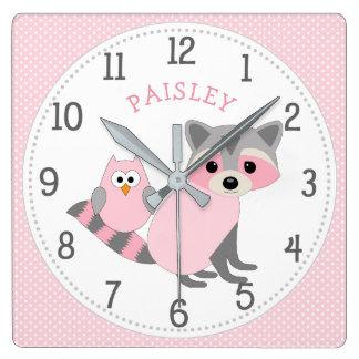 Relógio Quadrado Decoração com nome, animal do quarto da menina da