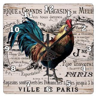Relógio Quadrado Decoração da parede do país do galo de Paris do