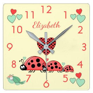Relógio Quadrado Decoração personalizada do berçário de Caterpillar