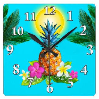 Relógio Quadrado Decoração temático havaiana, pulso de disparo
