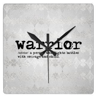 Relógio Quadrado Definição metálica de prata do guerreiro do falso