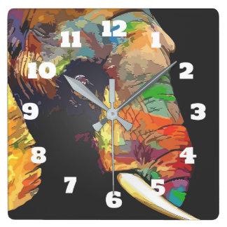 Relógio Quadrado Desenho colorido do retrato da cabeça do elefante