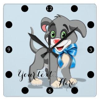 Relógio Quadrado Desenhos animados do filhote de cachorro do nariz
