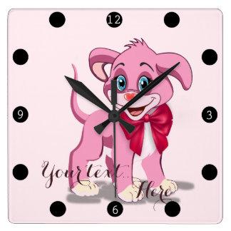 Relógio Quadrado Desenhos animados do filhote de cachorro do rosa