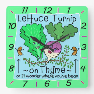 Relógio Quadrado Desenhos animados vegetais da chalaça do tomilho