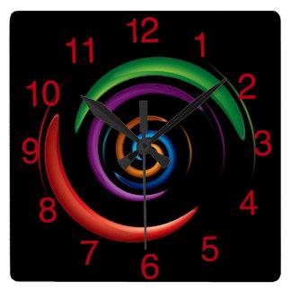 Relógio Quadrado Design abstrato colorido no fundo preto
