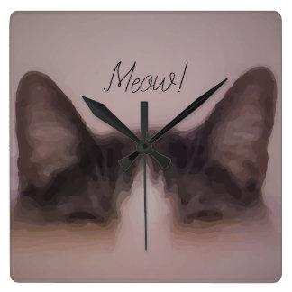 Relógio Quadrado Design bonito da pintura do gato do Meow