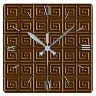 Relógio Quadrado Design chave grego - chocolate escuro