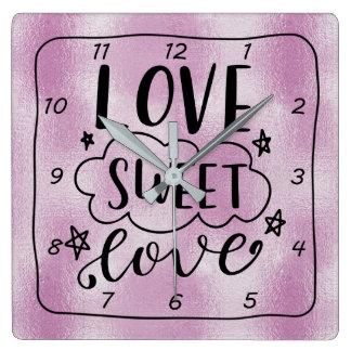 Relógio Quadrado Design da FOLHA do LILAC de LOVE-SWEET-LOVE
