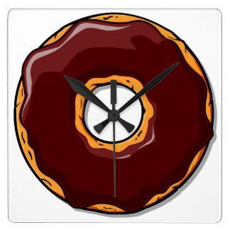 Relógio Quadrado Design da rosquinha do chocolate dos desenhos
