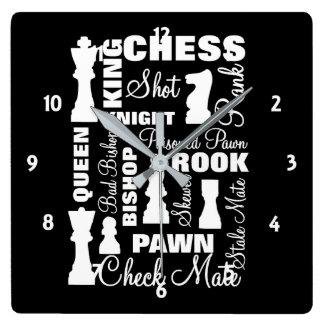 Relógio Quadrado Design da tipografia dos jogadores de xadrez