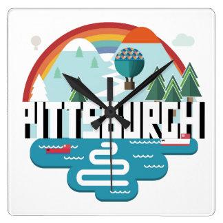 Relógio Quadrado Design de Pittsburgh, arquitectura da cidade de
