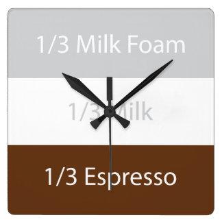 Relógio Quadrado Design de texto do café   do cappuccino da receita