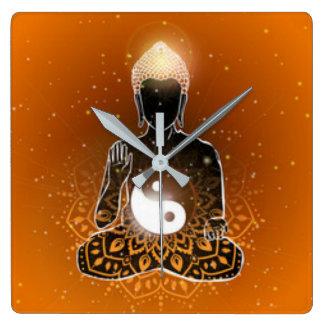 Relógio Quadrado Design de Ying Yang da meditação de Buddha