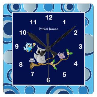 Relógio Quadrado Design do berçário da coruja do bebê dos azuis