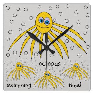 Relógio Quadrado Design do polvo do amarelo do divertimento do